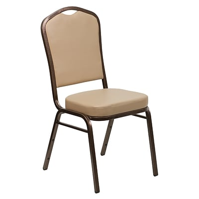 Flash Furniture Hercules Series Tan Crown Back Stacking Banquet Chair, 2.5 Seat, Copper Vein Frame