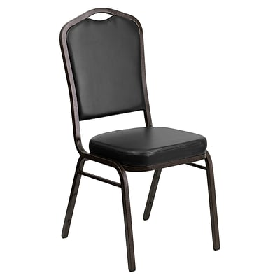 Flash Furniture Hercules Series Crown Back Stacking Banquet Chair, Black, 2.5 Seat, Gold Vein