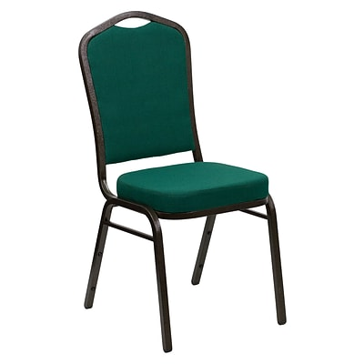 Flash Furniture Hercules Series Crown Back Stacking Chair w/Green Fabric, 2.5 Seat, Gold Frame,