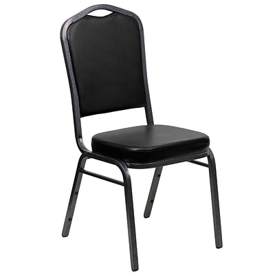 Flash Furniture Hercules Series Crown-Back Stacking Banquet Chair, Black, 2.5 Seat, Silver Vein