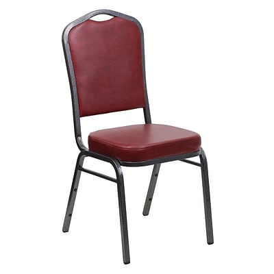 Flash Furniture Hercules Series Crown Back Stacking Banquet Chair, Burgundy Vinyl, Silver Vein