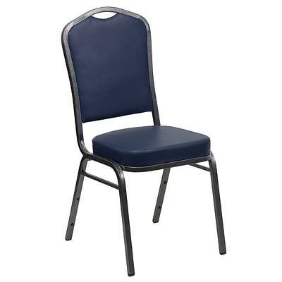 Flash Furniture Hercules Series Crown-Back Stacking Banquet Chair, Navy , 2.5 Seat, Silver Vein