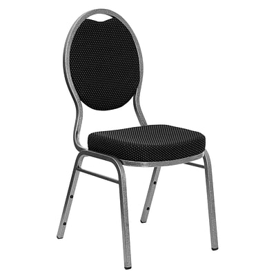 Flash Hercules Black-Pattern Fabric Teardrop-Back Stacking Banquet Chair, 2.5 Seat, Silver Vein