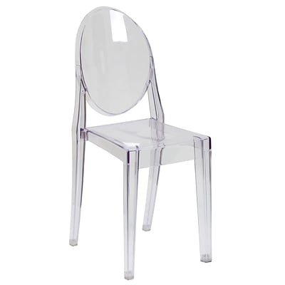 Flash Furniture Ghost Side Chairs, Transparent Crystal, 4/Pack