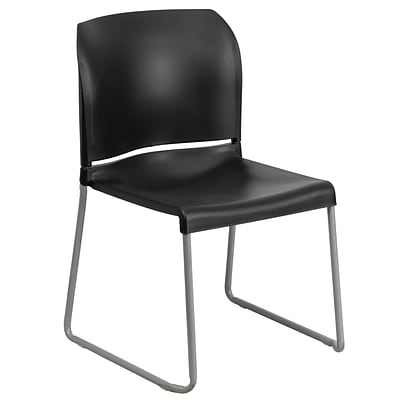 Flash Furniture HERCULES 8Full Back Stack Chair W/Sled Base, Black