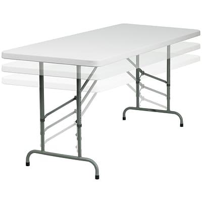 Flash Furniture 30 x 72 Height Adjustable Granite Plastic Folding Table, White