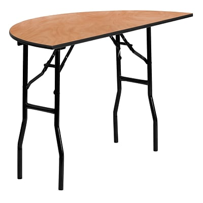 Flash Furniture 48 Half-Round Wood Folding Banquet Table, Black/Natural
