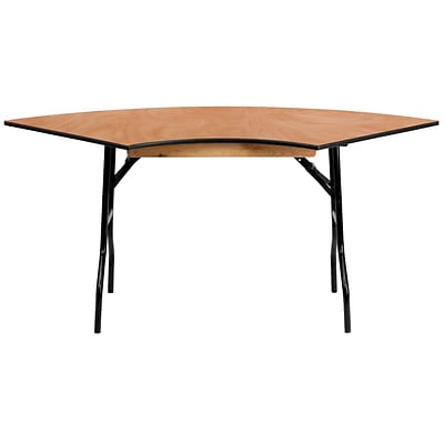 Flash Furniture 5.5 x 2.5 Serpentine Wood Folding Banquet Table, Black/Natural