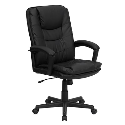Flash Furniture High Back Leather Executive Swivel Office Chair With Padded Leather Arms, Black