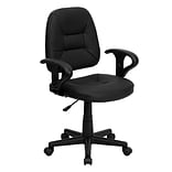 Flash Furniture Leather Ergonomic Task Chair With Arms, Black