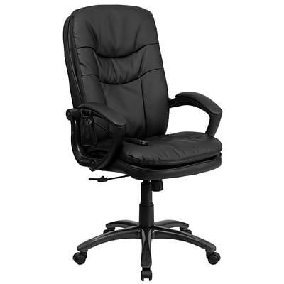 Flash Furniture Mid-Back Massaging Leather Executive Office Chair With Padded Loop Arms, Black