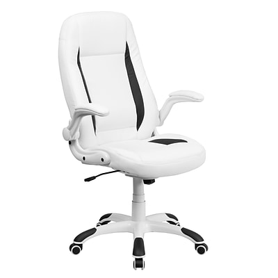 Flash Furniture High-Back LeatherSoft Executive Chair, Flip Up Arms, White