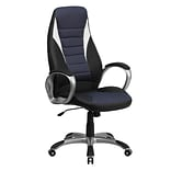 Flash Furniture High Back Vinyl Executive Office Chair With Blue Mesh Insets, Black