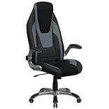 Flash Furniture High-Back Faux Leather Executive Chair, Adjustable Arms, Black/Gray