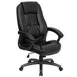 Flash Furniture High Back Leather Executive Office Chair With Nylon Arms, Black