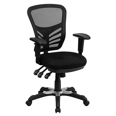 Flash Furniture Mid-Back Mesh Managers Chair, Adjustable Arms, Black