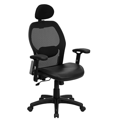 Flash Furniture High-Back Italian Leather Executive Chair, Adjustable Arms, Black