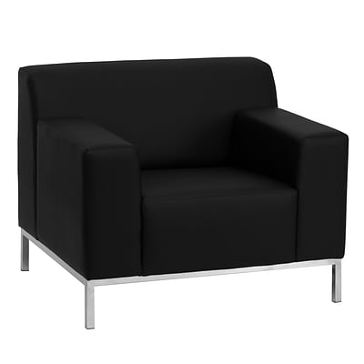 Flash Furniture HERCULES Definity Contemporary Leather Chair With Stainless Steel Frame, Black