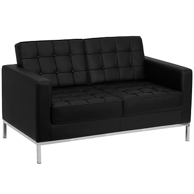 Flash Furniture HERCULES Lacey Contemporary Leather Love Seat With Stainless Steel Frame, Black