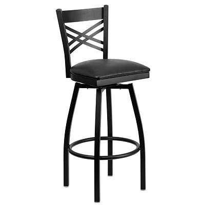 Flash Furniture Hercules Black X Back Swivel Metal Bar Stools W Vinyl Seat