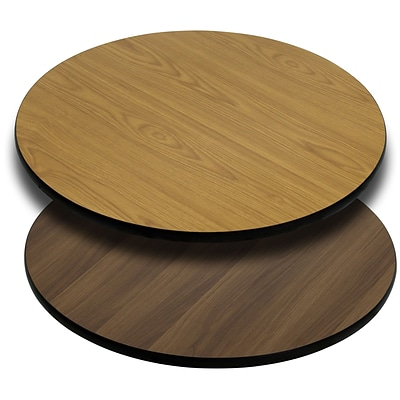 Flash Furniture 36 Round Table Top With Reversible Laminate Top, Natural/Walnut