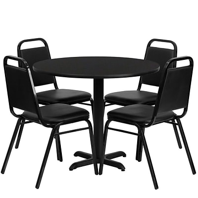 Flash Furniture 36 Round Black Laminate Table Set W/4 Black Trapezoidal Back Banquet X-Base Chairs