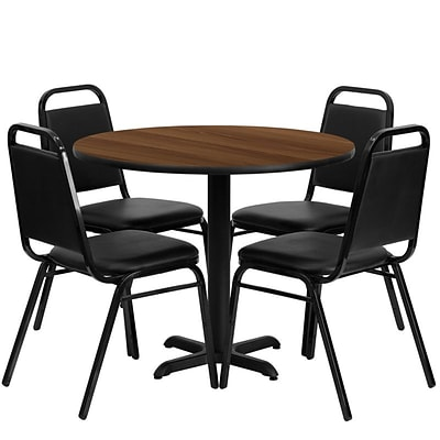 Flash Furniture 36 Round Walnut Laminate Table Set W/4 Trapezoidal Back Banquet X-Base Chairs
