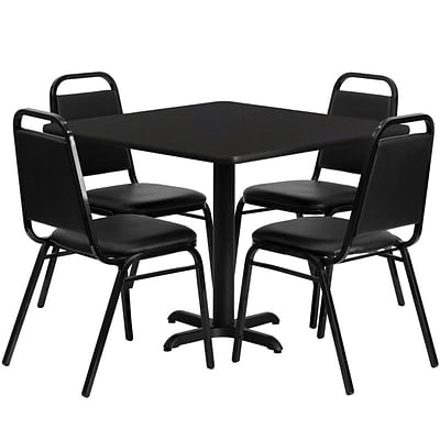Flash Furniture 36 Square Laminate Table Set W/4 Trapezoidal Back Banquet X-Base Chairs