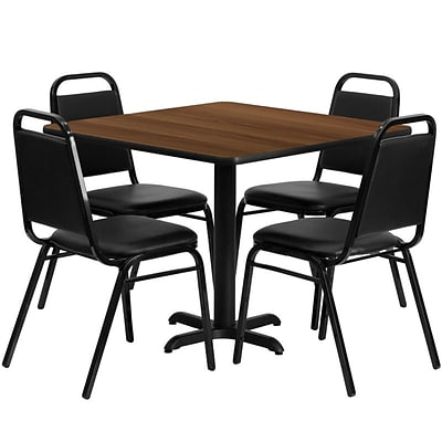 Flash Furniture 36 Square Table Set W/4 Trapezoidal Back Banquet X-Base Chairs