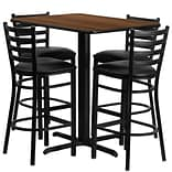 Flash Furniture 24Wx42L X-Base Rectangular Table Set W/4 Ladder Back Bar Stools