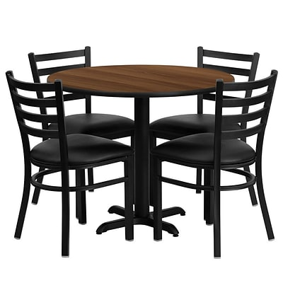 Flash Furniture 36 Round Walnut Laminate Table Set W/4 Ladder Back X-Base Black Vinyl Seat Chairs