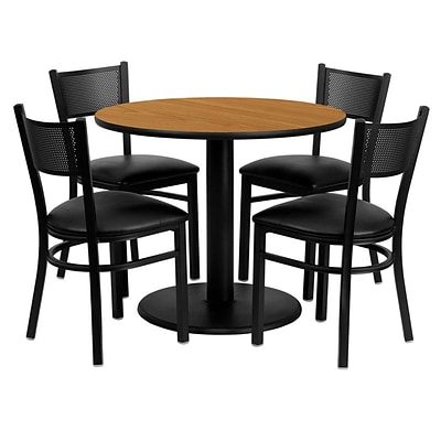 Flash Furniture 36 Round Natural Laminate Table Set W/4 Grid Back Black Vinyl Seat Chairs