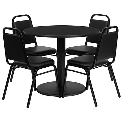 Flash Furniture 36 Round Laminate Table Set W/4 Trapezoidal Back Banquet Round-Base Chairs