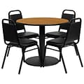 Flash Furniture 36 Round Natural Laminate Table Set with Round Base and 4 Black Trapezoidal Back B