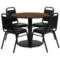 Flash Furniture 36 Round Walnut Laminate Table Set with Round Base and 4 Black Trapezoidal Back Ba
