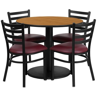 Flash Furniture 36 Round Natural Laminate Table Set W/4 Ladder Back Chairs Burgundy Vinyl Seat