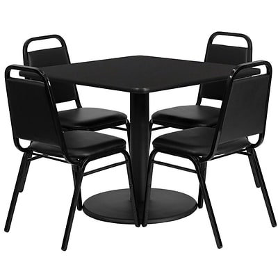 Flash Furniture 36 Square Black Laminate Table Set W/4 Black Trapezoidal Back Banquet Chairs