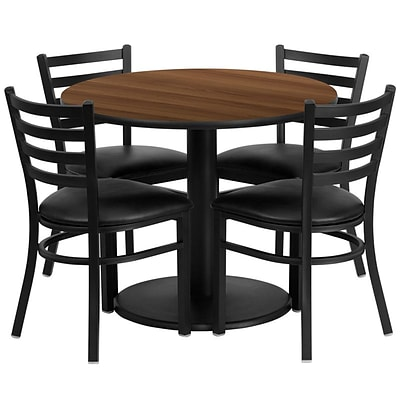 Flash Furniture 36 Round Walnut Laminate Table Set W/4 Ladder Back Black Vinyl Seat Chairs