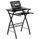 Flash Furniture Tempered Glass Computer Desk With Pull-Out Keyboard; Black