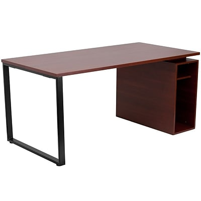 Flash Furniture Computer Desk With Open Storage Pedestal; Mahogany