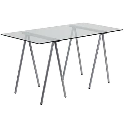 Flash Furniture Glass Computer Desk With Silver Frame; Clear