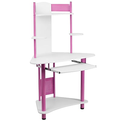 Flash Furniture Corner Computer Desks With Hutch; Pink (NANJN2705PK)