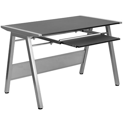 Flash Furniture Computer Desk With Pull-Out Keyboard; Black