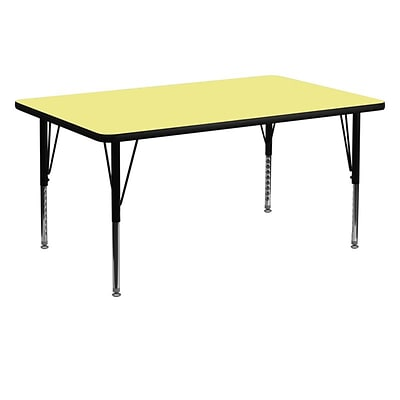 Flash Furniture 30W x 60L Rectangular Fused Laminate Activity Table W/Pre-School Legs, Yellow