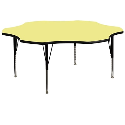 Flash Furniture 60W x 60L Flower Fused Laminate Activity Table W/Pre-School Legs, Yellow
