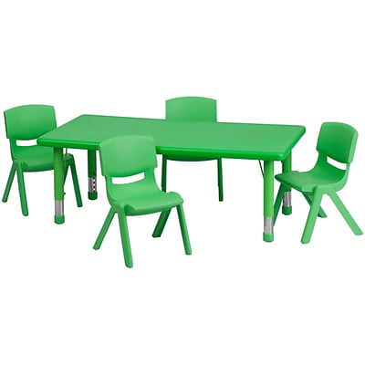 Flash Furniture 24W x 48L Rectangular Plastic Activity Table Set W/4 School Stack Chairs