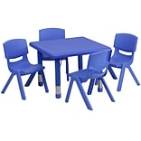 Flash Furniture 24 Square Adjustable Plastic Activity Table Set W/4 School Stack Chairs