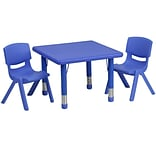 Flash Furniture 24 Square Adjustable Plastic Activity Table Set W/2 School Stack Chairs