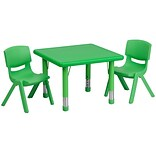 Flash Furniture 24 Square Adjustable Plastic Activity Table Set with 2 School Stack Chairs, Green