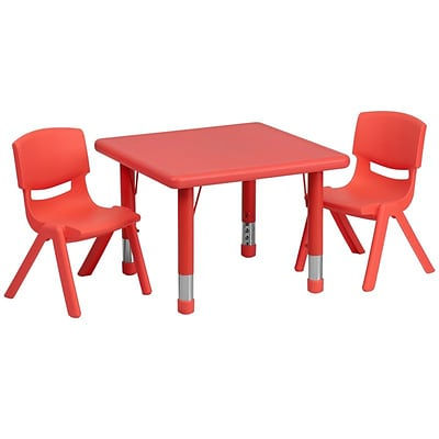 Flash Furniture 24 Square Adjustable Plastic Activity Table Set with 2 School Stack Chairs, Red (YCX23SQTBLREDR)